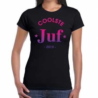 Coolste juf 2019 fun t-shirt zwart voor dames - cadeau juffendag