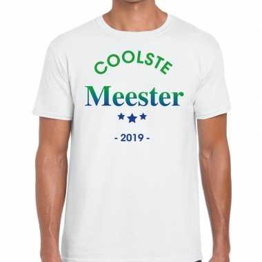 Coolste meester 2019 fun t-shirt wit voor heren - cadeau meesterdag