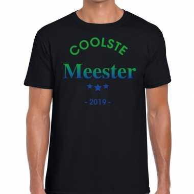 Coolste meester 2019 fun t-shirt zwart voor heren - cadeau meesterdag