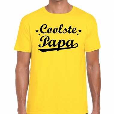 Coolste papa fun t-shirt geel voor heren