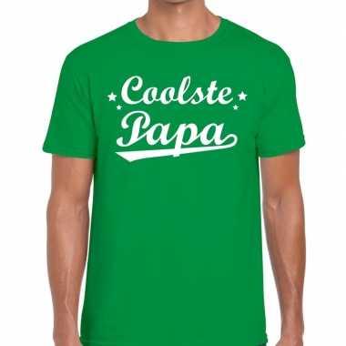Coolste papa fun t-shirt groen voor heren