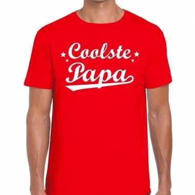 Coolste papa fun t-shirt rood voor heren