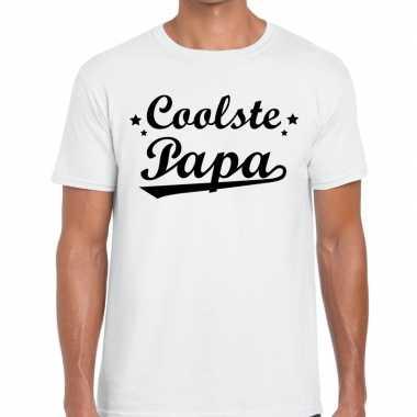 Coolste papa fun t-shirt wit voor heren