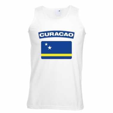 Curacao vlag mouwloos shirt wit heren