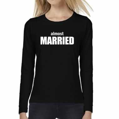 Dames fun t-shirt long sleeve almost married vrijgezellen feest kledi