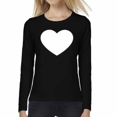 Dames fun t-shirt long sleeve hart zwart