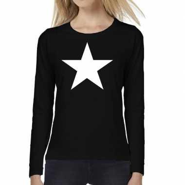 Dames fun t-shirt long sleeve ster zwart
