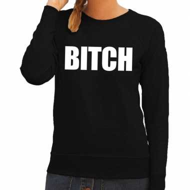 Dames fun text sweater bitch zwart