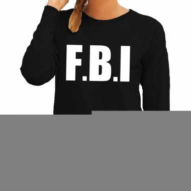 Dames fun text sweater fbi zwart