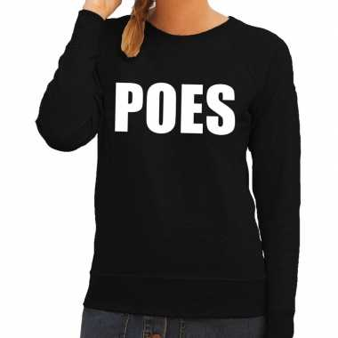 Dames fun text sweater poes zwart