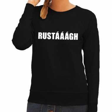Dames fun text sweater rustaaagh zwart