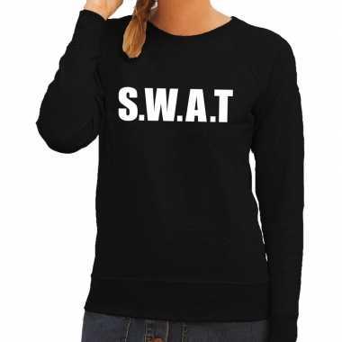 Dames fun text sweater swat zwart