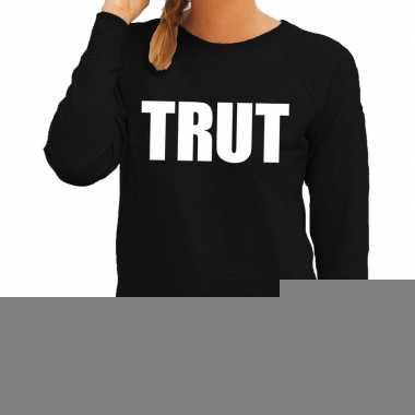 Dames fun text sweater trut zwart