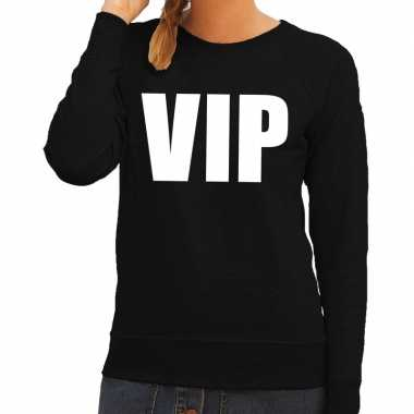 Dames fun text sweater vip zwart