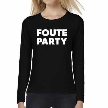 Dames fun text t-shirt long sleeve foute party zwart