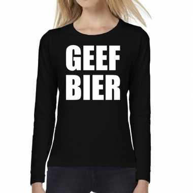 Dames fun text t-shirt long sleeve geef bier zwart