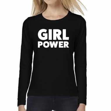 Dames fun text t-shirt long sleeve girl power zwart