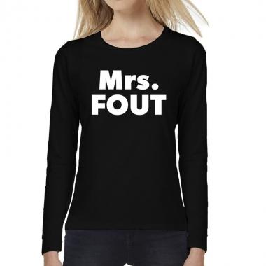 Dames fun text t-shirt long sleeve mrs. fout zwart
