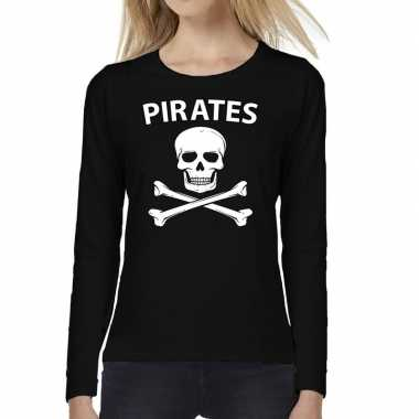 Dames fun text t-shirt long sleeve pirates zwart