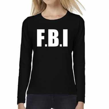 Dames fun text t-shirt long sleeve politie fbi zwart