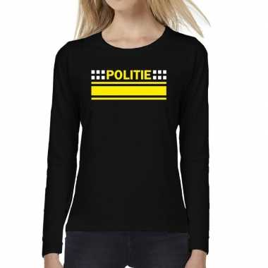 Dames fun text t-shirt long sleeve politie logo zwart