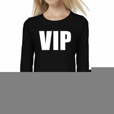 Dames fun text t-shirt long sleeve vip zwart
