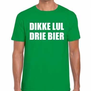 Dikke lul drie bier fun t-shirt groen voor heren