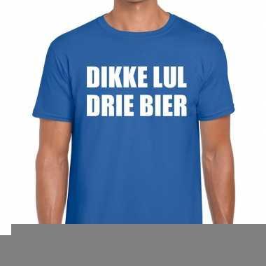 Dikke lul drie bier fun t-shirt voor heren blauw