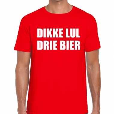 Dikke lul drie bier fun t-shirt voor heren rood