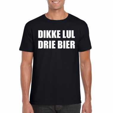 Dikke lul drie bier fun t-shirt voor heren zwart