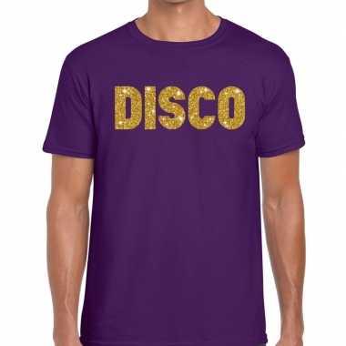 Disco fun tekst t-shirt paars voor heren