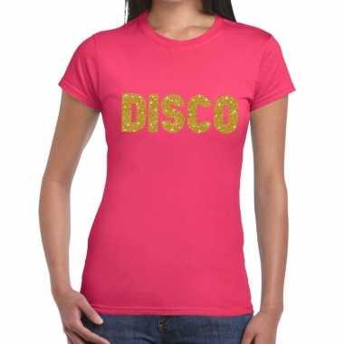 Disco goud fun t-shirt roze voor dames