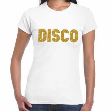 Disco goud fun t-shirt wit voor dames