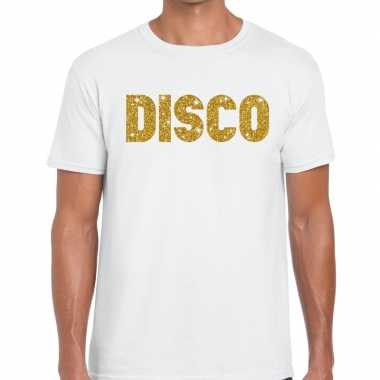 Disco goud letters fun t-shirt wit voor heren