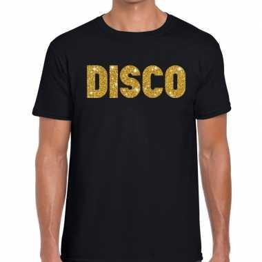 Disco gouden letters fun t-shirt zwart voor heren