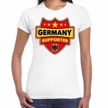 Duitsland / germany supporter t-shirt wit voor dames