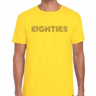 Eighties goud letters fun t-shirt geel voor heren