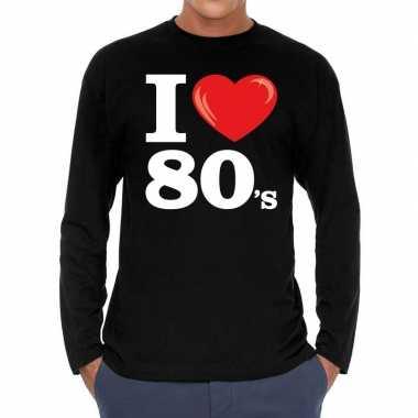 Eighties long sleeve shirt met i love 80s bedrukking zwart voor heren