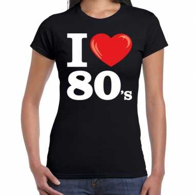Eighties shirt met i love 80s bedrukking zwart voor dames