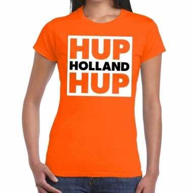 Ek / wk supporter t-shirt hup holland hup oranje voor dames