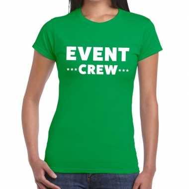 Evenement crew t-shirt groen met event crew bedrukking voor dames