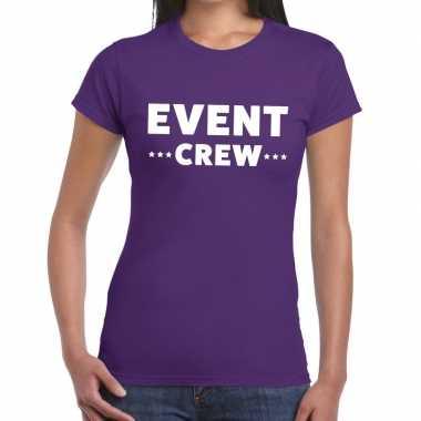 Evenement crew t-shirt paars met event crew bedrukking voor dames