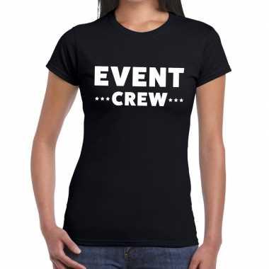 Evenement crew t-shirt zwart met event crew bedrukking voor dames