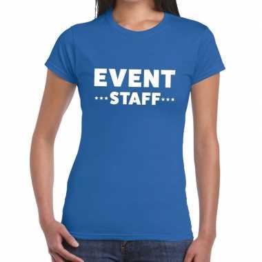 Evenement personeel t-shirt blauw met event staff bedrukking voor dam