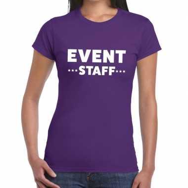 Evenement personeel t-shirt paars met event staff bedrukking voor dam