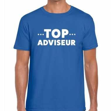 Evenementen tekst t-shirt blauw met top adviseur bedrukking voor here