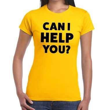 Evenementen tekst t-shirt geel met can i help you bedrukking voor dam