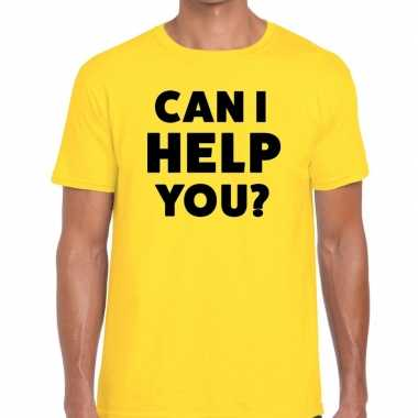 Evenementen tekst t-shirt geel met can i help you bedrukking voor her