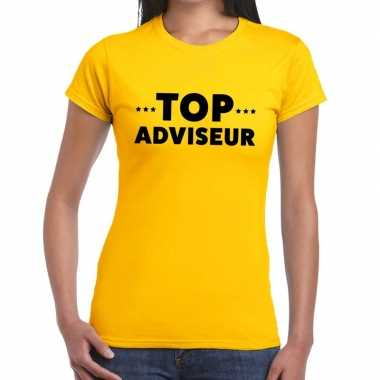 Evenementen tekst t-shirt geel met top adviseur bedrukking voor dames