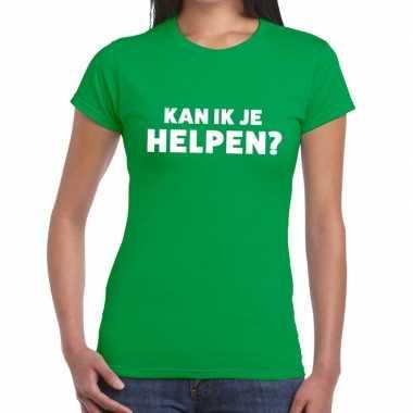 Evenementen tekst t-shirt groen met can i help you bedrukking voor da